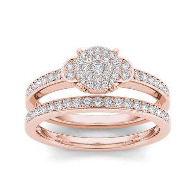 1/2 CT. T.W. Diamond 10K Rose Gold Bridal Ring Set
