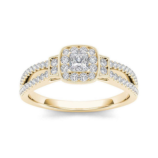 1/2 CT. T.W. Diamond Halo 10K Yellow Gold Engagement Ring