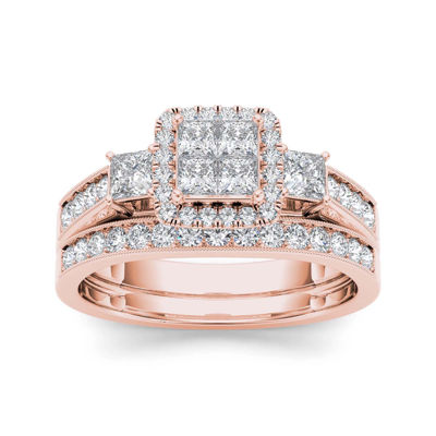 1 CT. T.W. Diamond Cluster 10K Rose Gold Bridal Ring Set