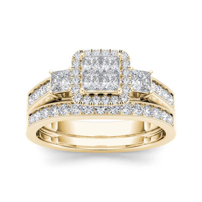 1 CT. T.W. Diamond Cluster 10K Yellow Gold Bridal Ring Set