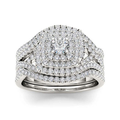 1 CT. T.W. Diamond 10K White Gold Bridal Ring Set