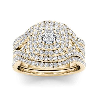 1 CT. T.W. Diamond 10K Yellow Gold Bridal Ring Set