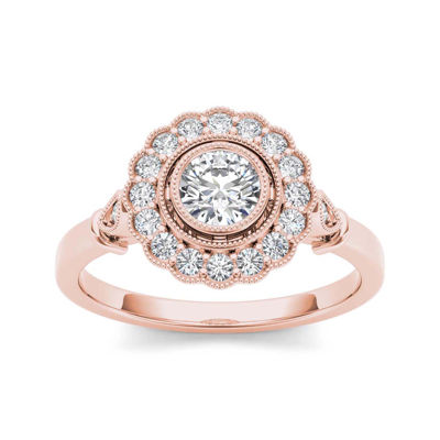 12 CT TW Diamond Flower Halo 10K Rose Gold Engagement Ring