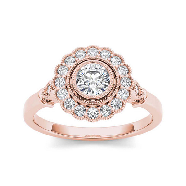 1 2 CT T W Diamond Flower Halo 10K Rose Gold Engagement Ring