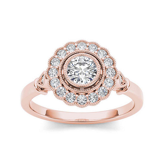 1/2 CT. T.W. Diamond Flower Halo 10K Rose Gold Engagement Ring