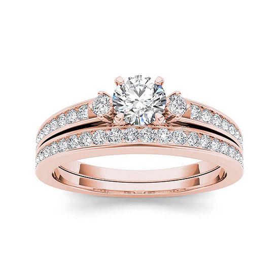 1 Ct Tw Diamond 14k Rose Gold Bridal Set