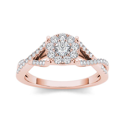 3/4 CT. T.W. Diamond 10K Rose Gold Engagement Ring