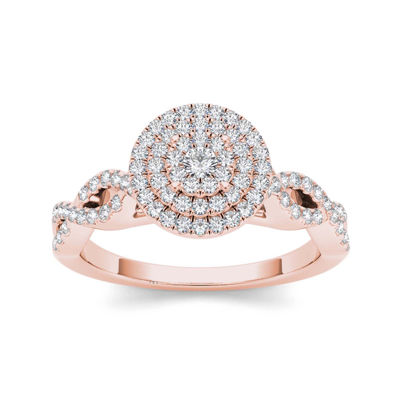 3/4 CT. T.W. Diamond 10K Rose Gold Engagement Ring