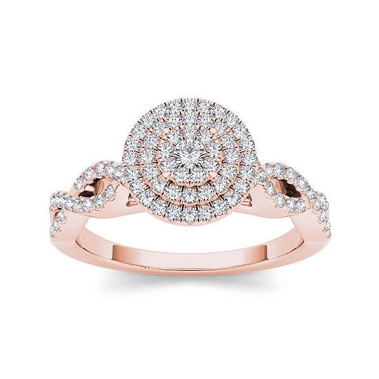 3 4 Ct Tw Diamond 10k Rose Gold Engagement Ring