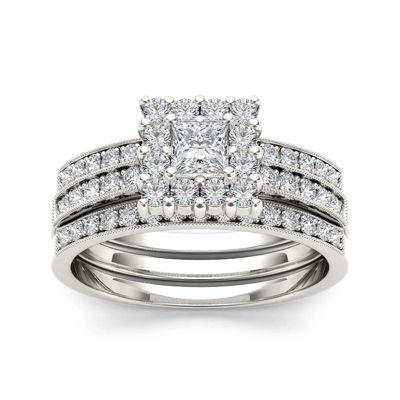 7/8 CT. T.W. Diamond 14K White Gold Bridal Ring Set
