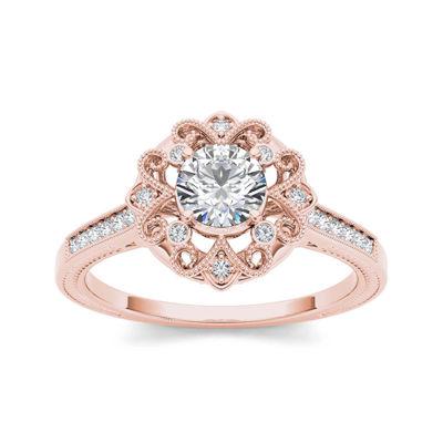 1/2 CT. T.W. Diamond 14K Rose Gold Engagement Ring