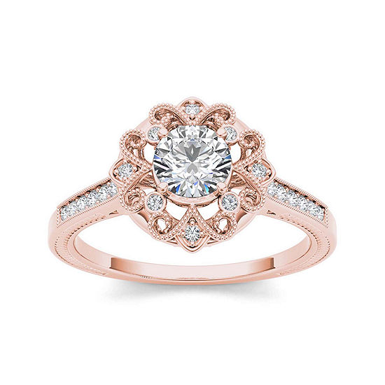1 2 Ct Tw Diamond 14k Rose Gold Engagement Ring