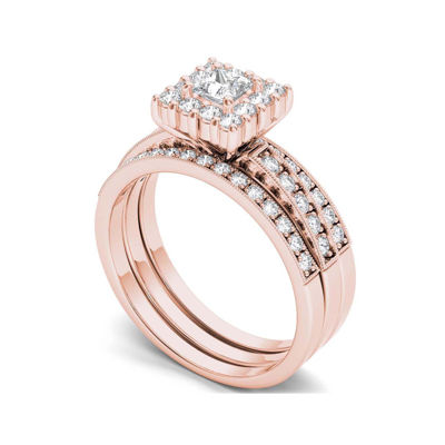 7/8 CT. T.W. Diamond 14K Rose Gold Bridal Ring Set