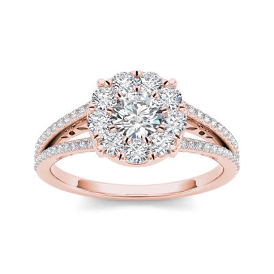 1 CT TW Diamond Cluster 10K Rose Gold Engagement Ring JCPenney