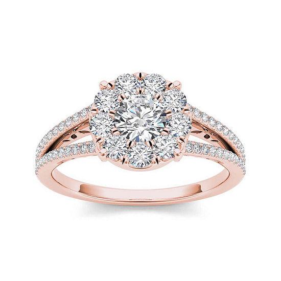 1 Ct Tw Diamond Cluster 10k Rose Gold Engagement Ring