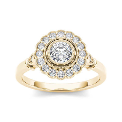 1/2 CT. T.W. Diamond Flower Halo 10K Yellow Gold Engagement Ring