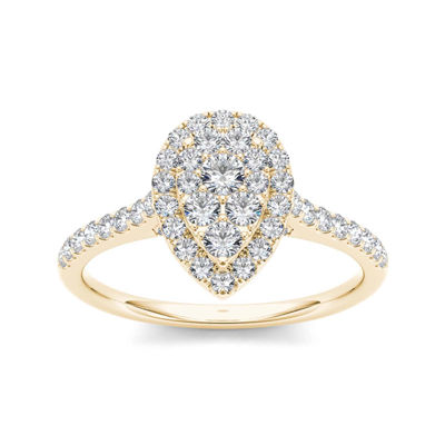 3/4 CT. T.W. Diamond 10K Yellow Gold Pear-Shaped Engagement Ring