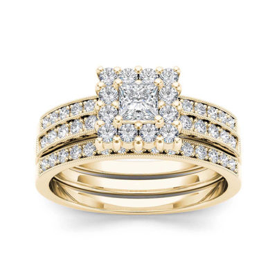7/8 CT. T.W. Diamond 14K Yellow Gold Bridal Ring Set
