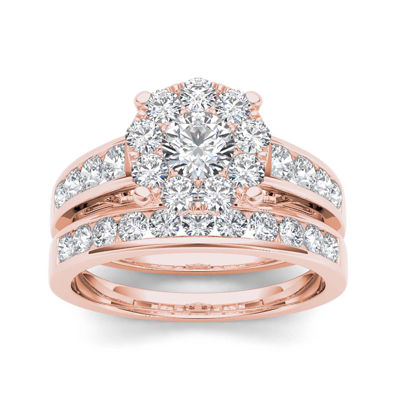 1 1/2 CT. T.W. Diamond 10K Rose Gold Bridal Set