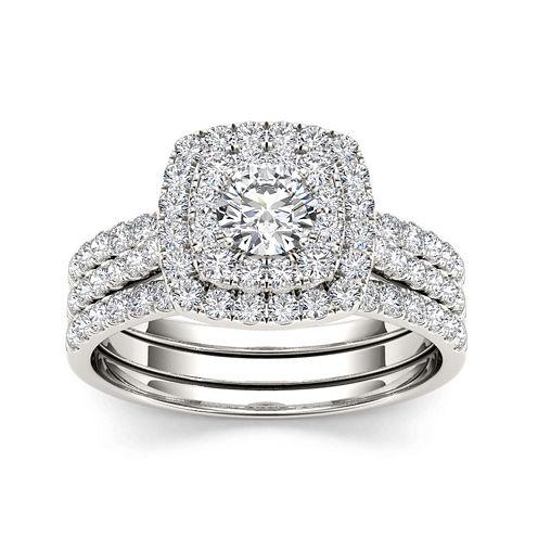 1 1/2 CT. T.W. Diamond 10K White Gold Bridal Set