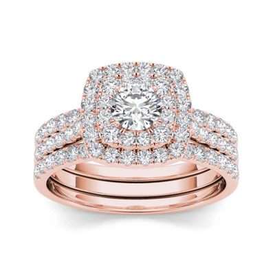 1 1/2 CT. T.W. Diamond 10K Rose Gold Bridal Ring Set