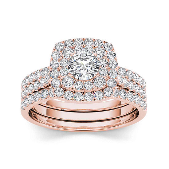 1 1/2 CT. T.W. Diamond 10K Rose Gold Bridal Ring Set