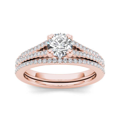 1 CT. T.W. Diamond 14K Rose Gold Bridal Ring Set