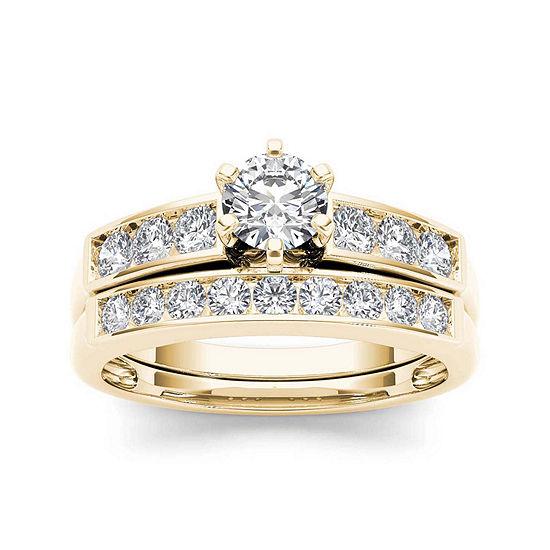 1 Ct Tw Diamond 14k Yellow Gold Bridal Ring Set