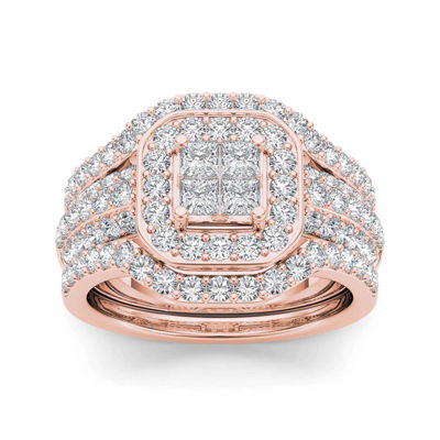 1 3/4 CT. T.W. Diamond 10K Rose Gold Bridal Set