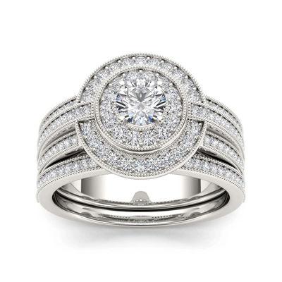 1 CT. T.W. Diamond 14K White Gold Bridal Ring Set
