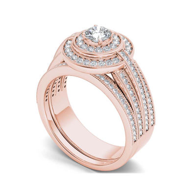 1 CT. T.W. Diamond 14K Rose Gold Halo Bridal Ring Set
