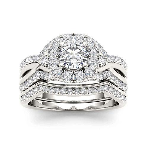 1 1/4 CT. T.W. Diamond 14K White Gold Halo Bridal Ring Set