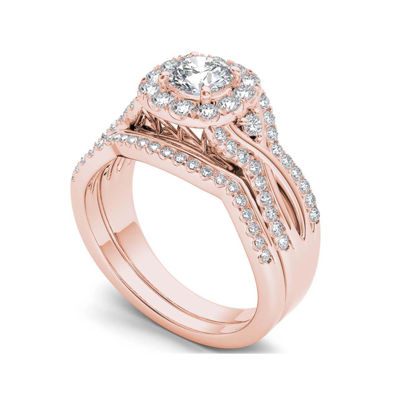 1 1/4 CT. T.W. Diamond 14K Rose Gold Halo Bridal Ring Set