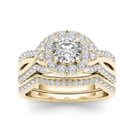 1 1/4 CT. T.W. Diamond 14K Yellow Gold Halo Bridal Ring Set