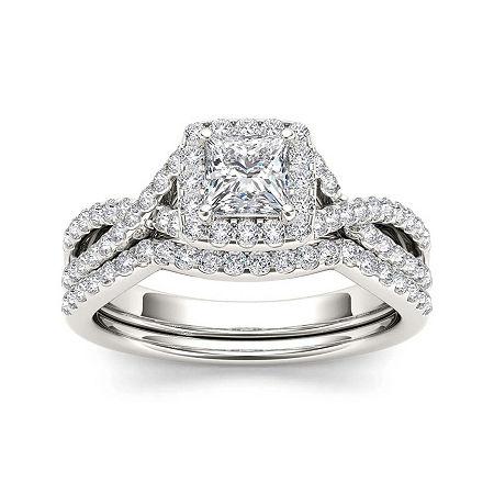 1 1/4 CT. T.W. Diamond 14K White Gold Bridal Set, 7 , No Color Family
