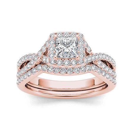 1 1/4 CT. T.W. Diamond 14K Rose Gold Bridal Set, 7 , No Color Family