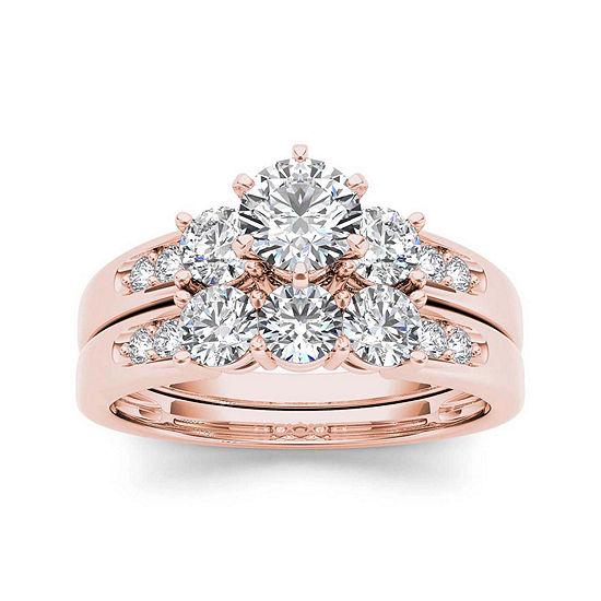 1 1/2 CT. T.W. Diamond 3-Stone 14K Rose Gold Bridal Set