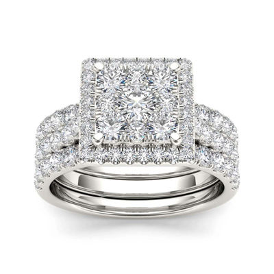 2 CT. T.W. Diamond 10K White Gold Bridal Set