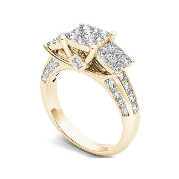 1 1/2 CT. T.W. Diamond Cluster 10K Yellow Gold Engagement Ring