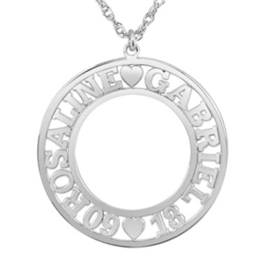 Personalized Couples Name and Date 28mm Circle Pendant Necklace