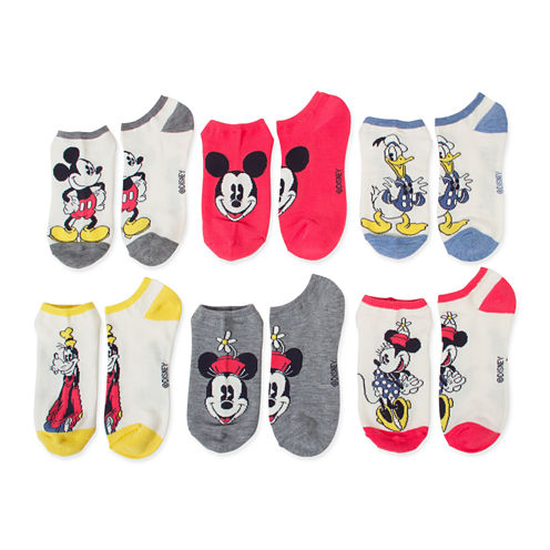 6pk Mickey N Friends No Show Socks