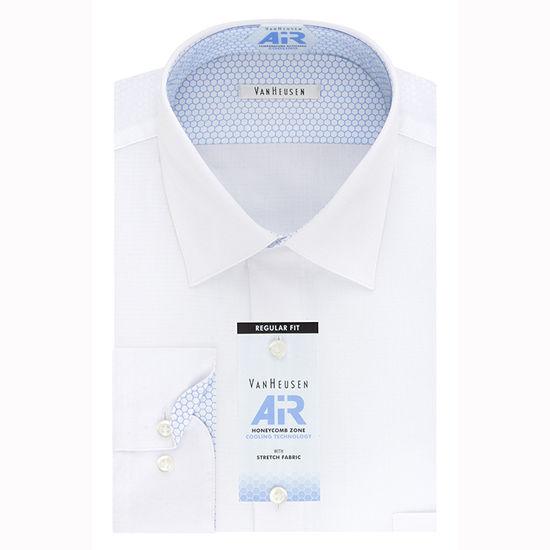 Van Heusen Mens Long Sleeve Wrinkle Free Stretch Moisture Wicking Dress Shirt