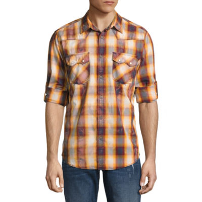 Decree Long Sleeve Plaid Button-Front Shirt