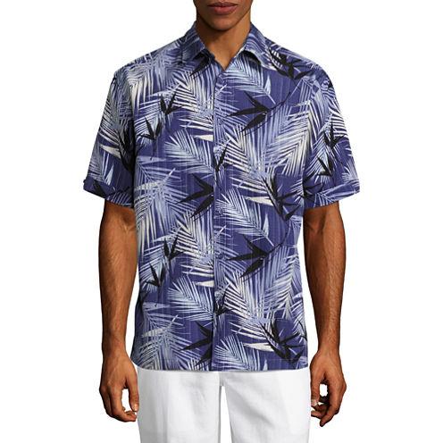 Havanera Short Sleeve Leaf Button-Front Shirt