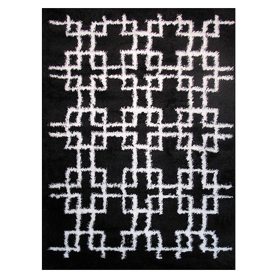 La Rugs Touch Squares Shag Rectangular Indoor Runner