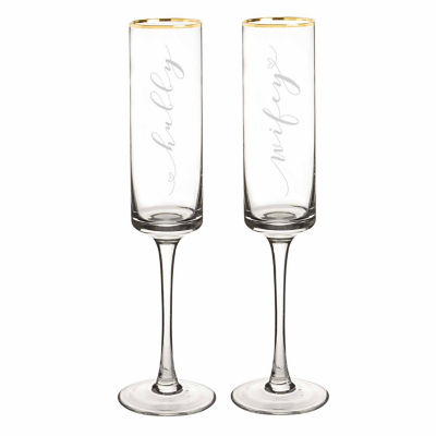 Cathy's Concepts Hubby & Wifey Gold Rim Contemporary Champagne Flutes