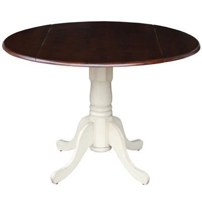 Dual Drop Leaf Round Wood-Top Dining Table