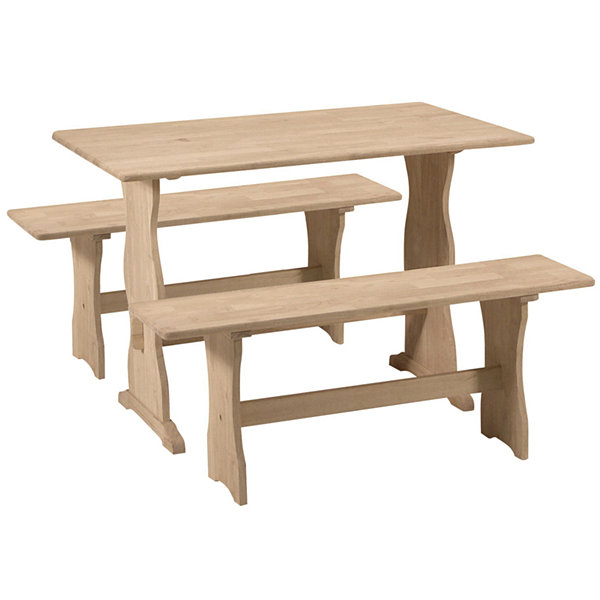 Unfinished Trestle Rectangular Wood-Top Dining Table