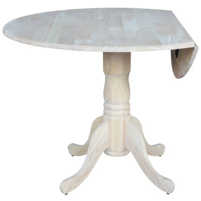 Unfinished Dual Drop Leaf Round Wood-Top Dining Table