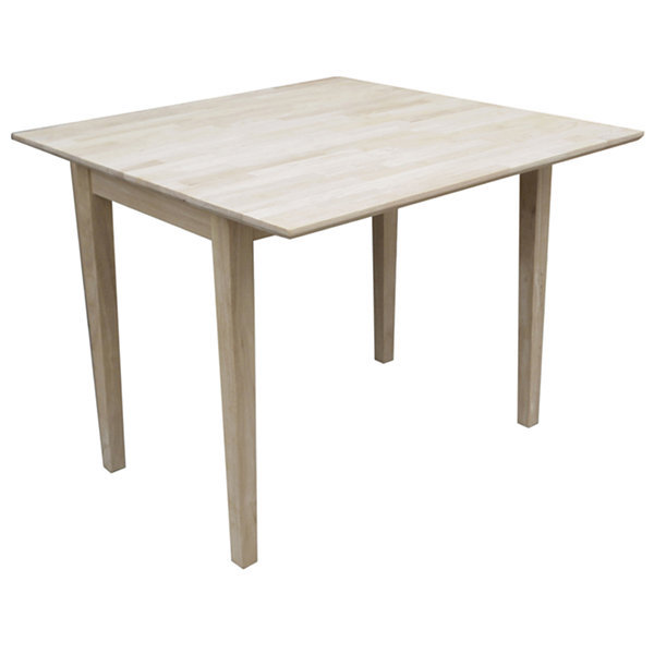 Unfinished Dual Drop Leaf Square Wood-Top Dining Table